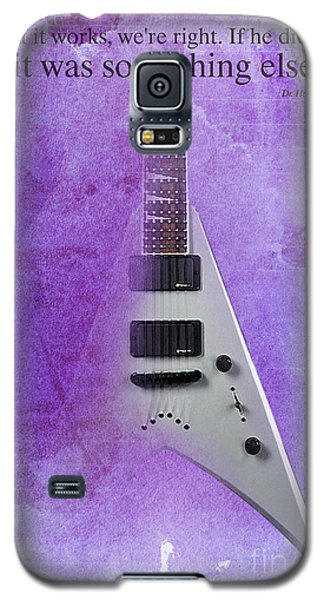Dr House Inspirational Quote And Electric Guitar Purple Vintage Poster For Musicians And Trekkers Galaxy S5 Case by Pablo Franchi