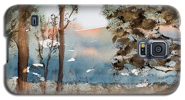 Mt Field Gum Tree Silhouettes Against Salmon Coloured Mountains Galaxy S5 Case