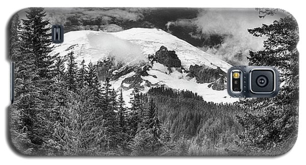 Galaxy S5 Case featuring the photograph Mt Rainier View - Bw by Stephen Stookey