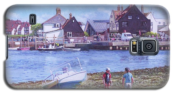 Galaxy S5 Case featuring the painting Mudeford Quay Christchurch From Hengistbury Head by Martin Davey