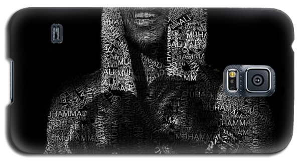 Boxing Muhammad Ali Galaxy S5 Case - Muhammad Ali Or Cassius Clay Text Portrait - Typographic Face Poster by JESP Art and Decor