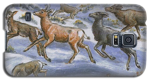 Galaxy S5 Case featuring the painting Mule Deer Surprise by Dawn Senior-Trask