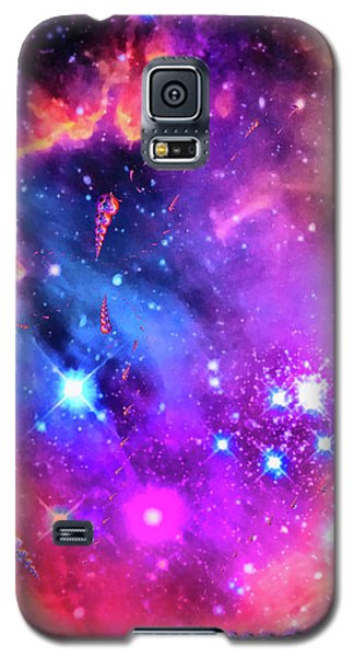 Orange Galaxy S5 Case - Multi Colored Space Chaos by Matthias Hauser