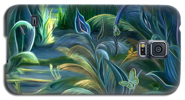 Galaxy S5 Case featuring the painting Mural  Insects Of Enchanted Stream by Nancy Griswold