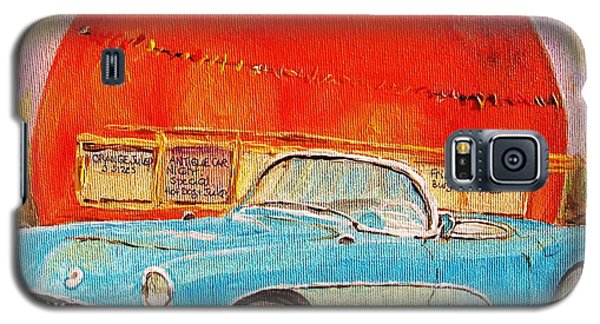 Galaxy S5 Case featuring the painting My Blue Corvette At The Orange Julep by Carole Spandau