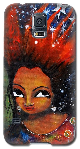 Galaxy S5 Case featuring the mixed media My Hair Is Being Pulled By The Stars  by Prerna Poojara