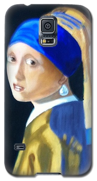Galaxy S5 Case featuring the painting My Version-girl With The Pearl Earring by Rod Jellison