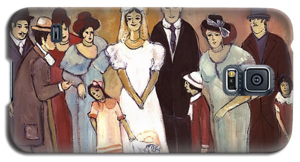 Naive Wedding Large Family White Bride Black Groom Red Women Girls Brown Men With Hats And Flowers Galaxy S5 Case