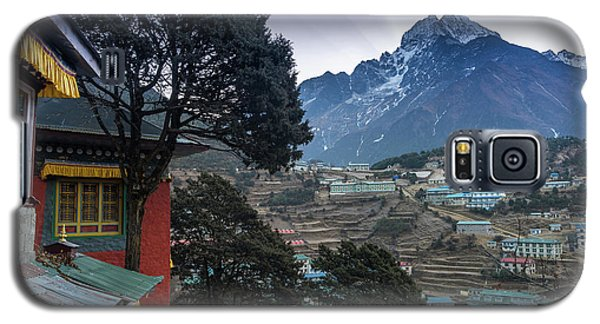 Galaxy S5 Case featuring the photograph Namche Monastery Morning Sunrays by Mike Reid