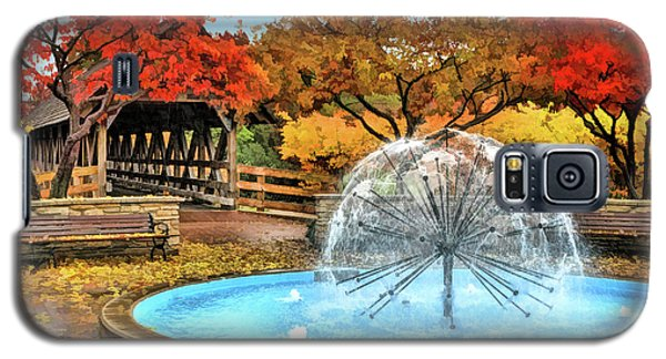 Galaxy S5 Case featuring the painting Naperville Dandelion Fountain by Christopher Arndt