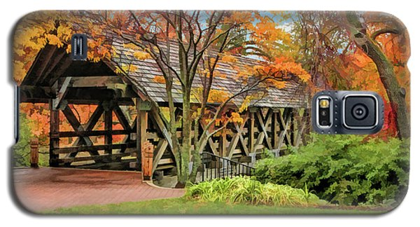 Galaxy S5 Case featuring the painting Naperville Riverwalk Covered Bridge by Christopher Arndt