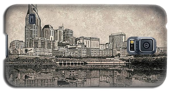 Nashville Skyline Mixed Media Painting  Galaxy S5 Case by Janet King
