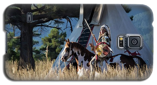 Native American In Full Headdress In Front Of Teepee Galaxy S5 Case