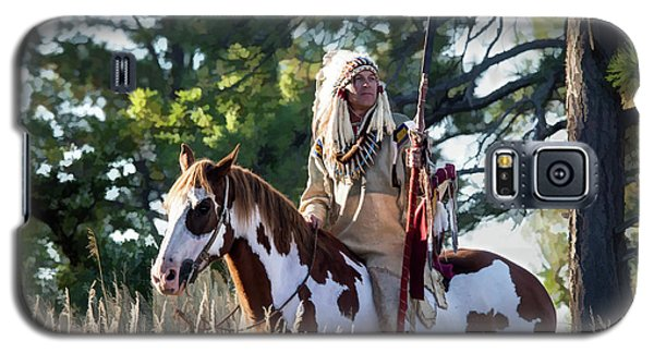 Native American In Full Headdress On A Paint Horse Galaxy S5 Case