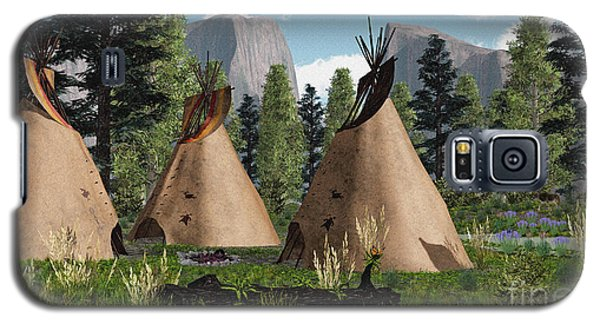 Galaxy S5 Case featuring the photograph Native American Mountain Tepees by Walter Colvin
