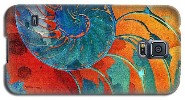Nautilus Shell Orange Blue Green Galaxy S5 Case