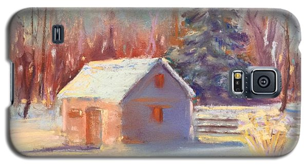 Galaxy S5 Case featuring the pastel Nauvoo Winter Scene by Rebecca Matthews