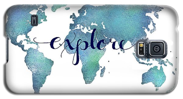 Navy And Teal Explore World Map Galaxy S5 Case