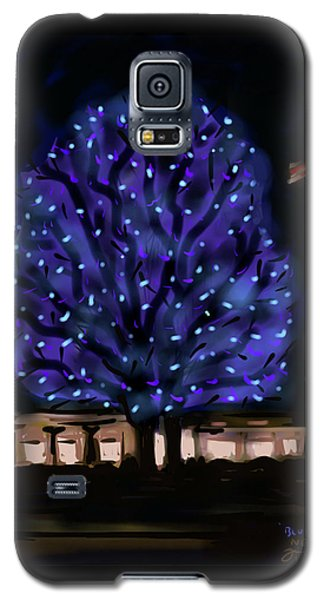 Galaxy S5 Case featuring the painting Needham's Blue Tree by Jean Pacheco Ravinski