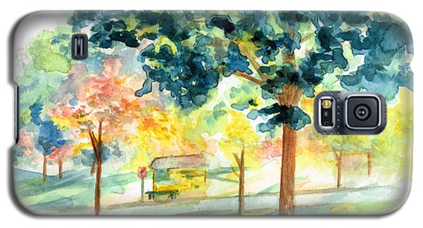 Galaxy S5 Case featuring the painting Neighborhood Bus Stop by Andrew Gillette
