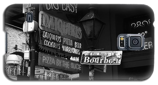 Neon Sign On Bourbon Street Corner French Quarter New Orleans Black And White Galaxy S5 Case by Shawn O'Brien