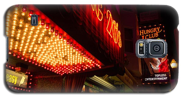 Neon Signs At Night In North Beach San Francisco With Light Bulb Awning Galaxy S5 Case by Jason Rosette
