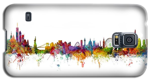 New York And London Skyline Mashup Galaxy S5 Case by Michael Tompsett