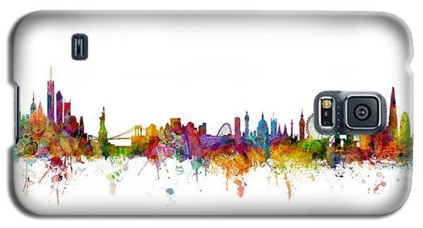 New York And London Skyline Mashup Galaxy S5 Case
