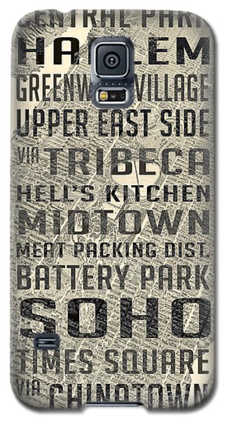 New York City Subway Stops Vintage Map 5 Galaxy S5 Case by Edward Fielding
