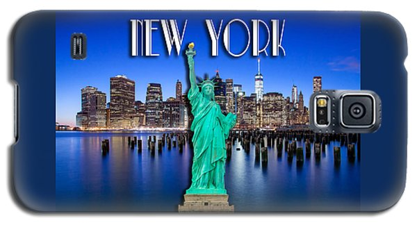 Statue Of Liberty Galaxy S5 Case - New York Classic Skyline With Statue Of Liberty by Az Jackson
