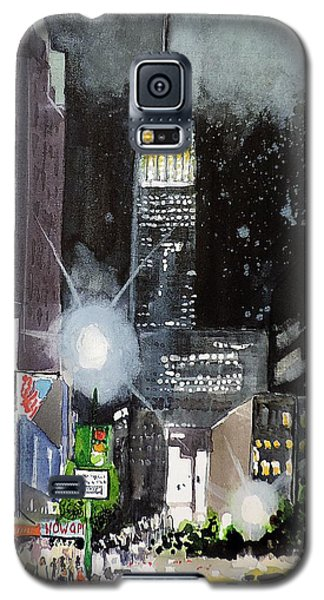 Galaxy S5 Case featuring the painting New York Night by Tom Riggs