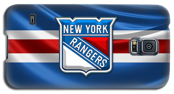 New York Rangers - 3d Badge Over Flag Galaxy S5 Case by Serge Averbukh