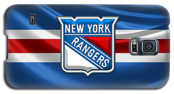 Nerd Galaxy S5 Case - New York Rangers - 3d Badge Over Flag by Serge Averbukh