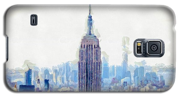 New York Skyline Art- Mixed Media Painting Galaxy S5 Case by Wall Art Prints