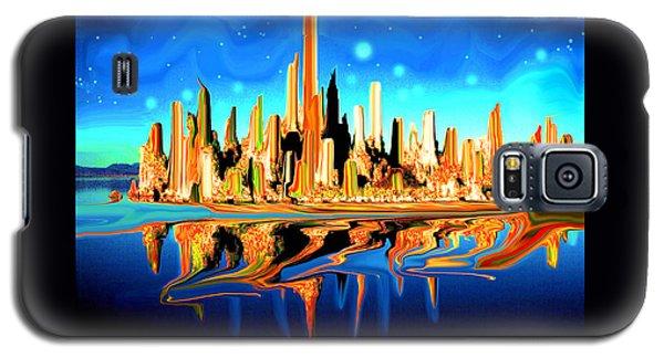 New York Skyline Blue Orange - Modern Art Galaxy S5 Case