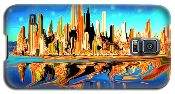 New York Skyline In Blue Orange - Modern Fantasy Art Galaxy S5 Case