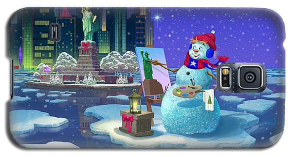 Galaxy S5 Case featuring the painting New York Snowman by Michael Humphries