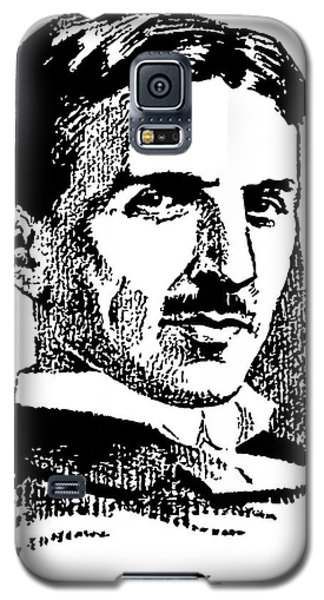 Galaxy S5 Case featuring the digital art Newspaper Nikola Tesla  by Daniel Hagerman