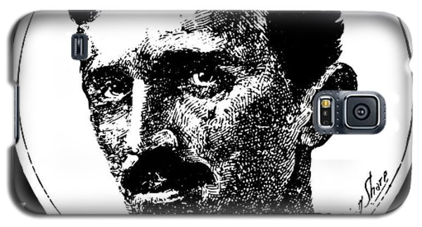 Galaxy S5 Case featuring the digital art Newspaper Tesla 2 by Daniel Hagerman