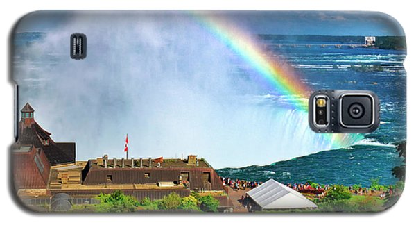 Galaxy S5 Case featuring the photograph Niagara Falls And Welcome Centre With Rainbow by Charline Xia