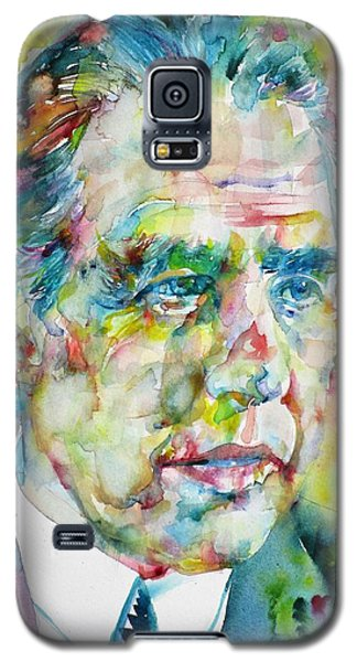 Galaxy S5 Case featuring the painting Niels Bohr - Watercolor Portrait by Fabrizio Cassetta
