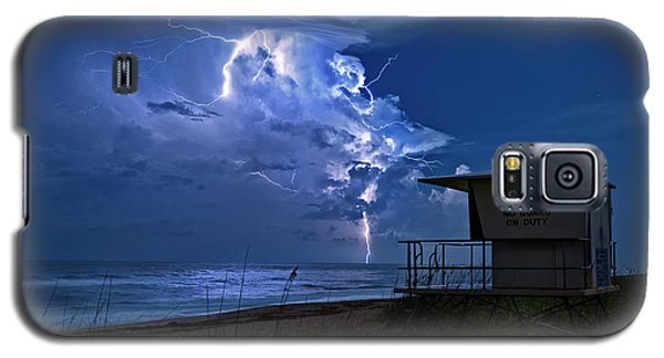 Night Lightning Under Full Moon Over Hobe Sound Beach, Florida Galaxy S5 Case by Justin Kelefas
