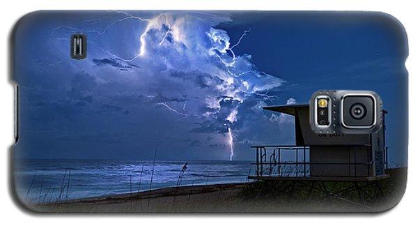 Night Lightning Under Full Moon Over Hobe Sound Beach, Florida Galaxy S5 Case by Justin Kelefas
