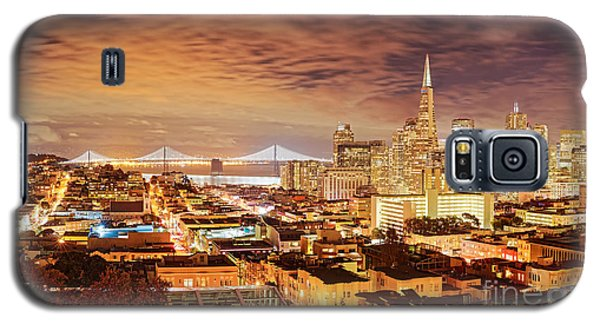 Night Panorama Of San Francisco And Oak Area Bridge From Ina Coolbrith Park - California Galaxy S5 Case