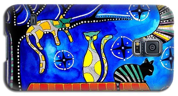 Galaxy S5 Case featuring the painting Night Shift - Cat Art By Dora Hathazi Mendes by Dora Hathazi Mendes
