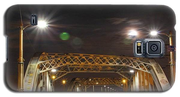 Night Shot Of The Los Angeles 6th Street Bridge And Supermoon #5 Galaxy S5 Case
