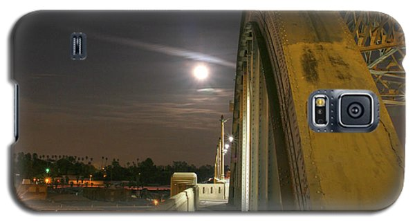 Night Shot Of The Los Angeles 6th Street Bridge And Supermoon #6 Galaxy S5 Case