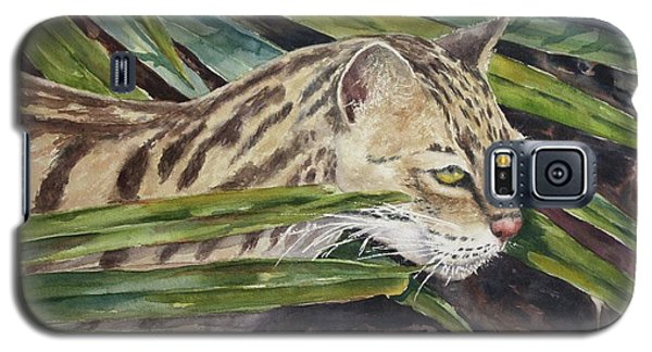 Galaxy S5 Case featuring the painting Nirvana - Ocelot by Roxanne Tobaison