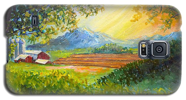 Galaxy S5 Case featuring the painting Nixon's Majestic Farm View by Lee Nixon