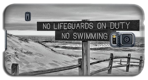 Galaxy S5 Case featuring the photograph No Lifeguards On Duty Black And White by Paul Ward
